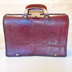 Hand Tooled Brown Leather Doctor Laptop Briefcase Hand School Bag Country Horses